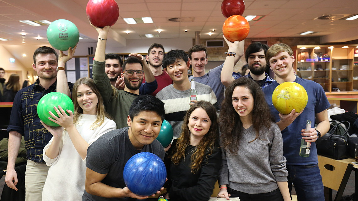 Group of students with bowling balls