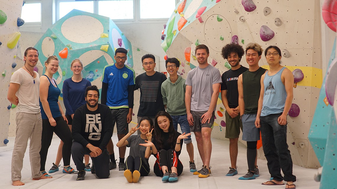 Group of students at bouldering event