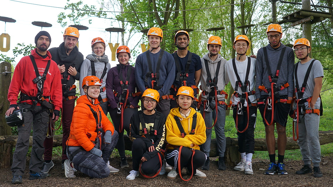 Group of students ready for a climbing event